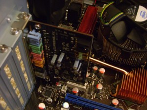 Sound card fitted into the motherboard
